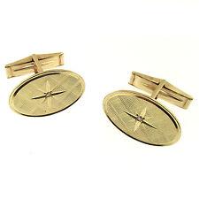 14k Gold Diamond Cufflinks VTG 1960s Florentine Starburst AF & AM Master Mason