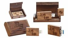 32 GB Personalised 2.0 USB in Engraved Wooden Box - Walnut Colour