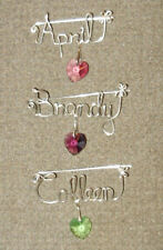 Custom Hand Made Sterling Silver Name Pins