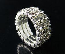 New Lots 6Pcs Fashion 3Rows Stretchy Crystal Rhinestone Rings N340