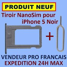 ✖ TIROIR METAL SUPPORT CARTE NANO SIM IPHONE 5 NOIR NEUF ✖ EXPEDITION 24H MAX ✖