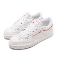 Reebok Club C 85 Chalk Orange Red Women Classic Casual Shoes Sneakers EF3489