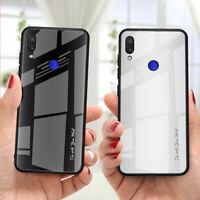 For Xiaomi Redmi Note 7 6 5 Pro Carbon Fiber Texture Glass Hard Back Case Cover