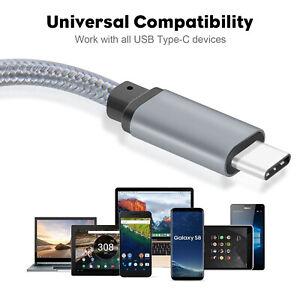 USB C to USB C Cable 3.1 Gen1 Type C Nylon Braided &Fast Charging (10 feet/Grey)