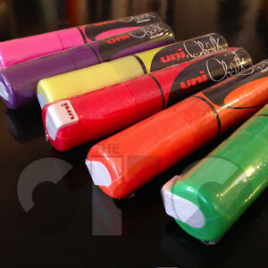 Uni Chalk Marker - 8.0 mm PWE-8K , broad tip DIFFERENT COLOURS to choose from