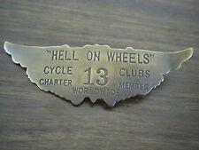 MOTORCYCLE JACKET BRASS BADGE Hell on Wheels Charter Member