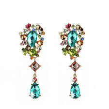 Fashion Elegant Women Colorful Crystal Rhinestone Ear Stud Earrings Jewelry