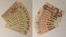 1986 Canada Consecutive (10) $2 Bill Note Series CBI Banknote UNCIRCULATED LOOK