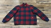 Pendleton Womens Small Bomber Jacket Plaid Wool Lined Red Blue Green Vintage