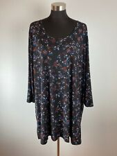 Ulla Popken Womens Top 32 34 4X Black Blue Red Floral Jersey 3/4 Sleeve Scoop