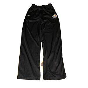 PITTSBURGH STEELERS BLACK Mesh Lined Windbreaker Track PANTS gym  Boys XL 18-20