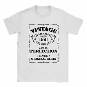 27th Birthday T-Shirt Born In 1991 Mens Present Gift Age - Aged to Perfection