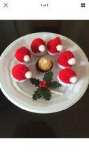 6 x Homemade Hand Knitted Santa Hat Ferrero Rocher Chocolate Covers