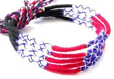 Lot 5 Bracelets Bresiliens de l'Amitié Macramé coton Friendship bleu blanc rouge