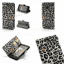 Taschen HTC One M7 801e Leopard PU Ledertasche mit Standfunktion in Weiß Leopard