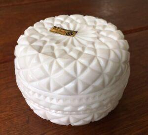 Vintage Milk White Glass Trinket Jewellery Box Lidded Dish