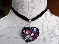 Jack Skellington & Sally Heart Black Velvet Choker Nightmare Before Christmas