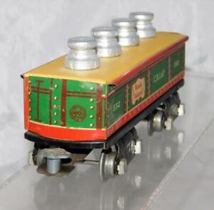 """Marx Trains 2552 CRI&P Gondola w/ repro milk can load +insert 6"""" Prewar Auto cpl"""