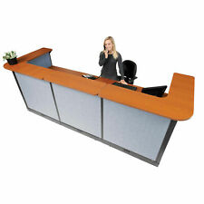 124w X 44d X 46h U Shaped Electric Reception Station Cherry Counterblue