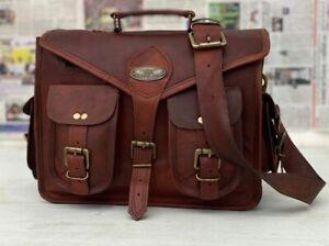 New Men's Leather Vintage Messenger laptop Briefcase Satchel bag All-Purpose Use