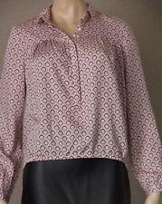 COUNTRY ROAD Size XXS (6 8) Geometric Modal Blouse, Shirt TOP Dusky Pink, Black