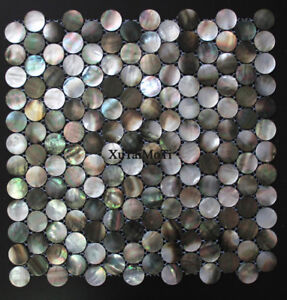 Black Lip Shell Mosaic Tile Mother of Pearl Kitchen Bathroom Penny Round Wall