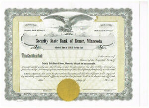 Security State Bank of Remer, Minnesota, 19xx, unissued, VF+