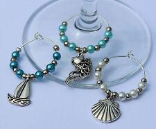 Nautical / Seaside wine glass charms set of 6