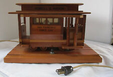 VINTAGE MIDCENTURY WOODEN POWELL & MASON SAN FRANCISCO CABLE TROLLEY NIGHT LIGHT