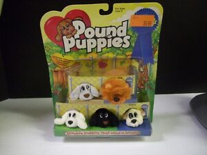 Vintage 1997 Galoob Mini Pound Puppies Plush Dogs Lot of 5 on card unopened