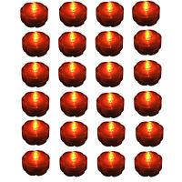 24 pc set ORANGE Jack-O-Lantern Pumpkin LED Battery Tea Light~HALLOWEEN~ FREE SH
