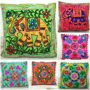 6 Pieces Handmade Beautiful Suzani Cushion Cover Embroidered Indian Pillow Cases