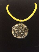 "TUDOR ROSE DR54 Made From Fine English Pewter On 18"" Yellow Cord Necklace"
