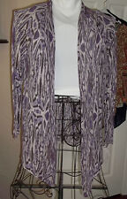 CHICO'S Purple and White Animal Print Cardigan Sweater Jacket
