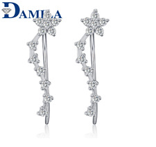 Crawler Ear Cuff Earrings Gift A14 Sterling Silver Cubic Zirconia Star Climber