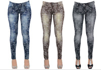 New Ladies Womens Floral Print Slim Skinny Worn Out Jeans Jeggings Pant UK Sizes