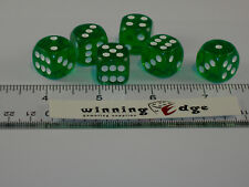 NEW 9 GREEN ACRYLIC DICE 16mm FREE SHIPPING