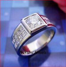 Wedding Ring 925 Sterling Silver 2Ct Round Moissanite Man's Antique Engagement