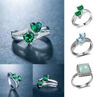 925 Sliver Birthstone Sea Blue Aquamarine Topaz Engagement Wedding Ring Size6-10