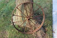 "Antique Wagon Buggy Automobile Wheel 12 Spoke Iron 25 3/4"" Tall #1 Country Decor"