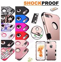 Apple iPhone SE 5 S Shockproof Impact TUFF HYBRID Armor Rubber Rugged Case Cover