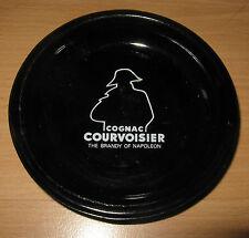 Courvoisier Cognac Brandy Of Napoleon Black Glass Round Ashtray Silhouette