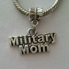 Military Mom USA Army Marine Dangle Charm Bead Silver for European Bracelet