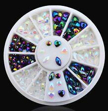 Sweet Peach Heart 3D Nail Art Rhinestone Glitters Acrylic Tips Manicure Wheel
