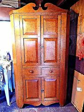 FABULOUS ORIGINAL ANTIQUE CURLY MAPLE RAISED PANEL CORNER CABINET.