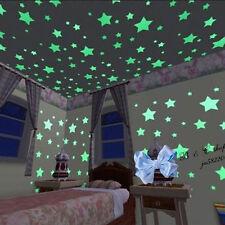 100X Luminous Big Stars Fluorescent Stickers 3D Glow In The Dark Wall Stic_c*dm