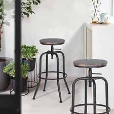 Lot de 2 Tabourets Chaises Bar Pivotant avec repose-pieds Industrie Noyer Wengé