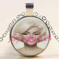 Marilyn Monroe Cabochon Tibetan silver Glass Chain Pendant Necklace #5864