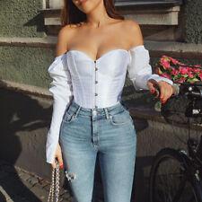 Ladies Off Shoulder Long-Sleeved  Bandage Crop Corset Waist Slim Shirt Cross Top