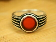 Natural Red Agate Men's Rings, Handmade 925 Sterling Silver MULTI-SIZES Rings